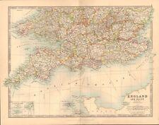 1891 ANTIQUE MAP - ENGLAND AND WALES, SOUTH, PEMBROKE,CORNWALL,DEVON,KENT