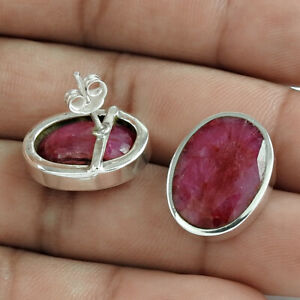 Oval Shape Natural Ruby Gemstone Jewelry 925 Solid Sterling Silver Earrings C11