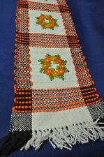 Vintage Polish Table Runner Wool Woven Hand Made Decorated Floral Orange Brown