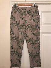 Ladies Laura Ashley Linen Blend Trousers UK Size 8 Beige Green Leaf Print Capri