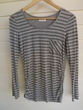 Jag Women's Grey Stripe Long-Sleeve Top with Elastic Sides - Size S
