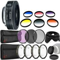 Canon EF-S 24mm f/2.8 STM Lens with Top Accessory Kit For Canon 80D, 77D and 70D