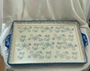 Temp-tations By Tara Floral Lace Blue & White Serving Tray Platter