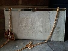 Vintage retro- faux lizard skin beige clutch/ evening bag with chain strap- new