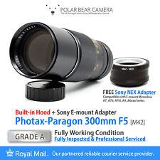⭐SERVICED⭐PHOTAX-Paragon 300mm F5 M42 +Sony NEX E-mount Adapter + Caps[GRADE A]