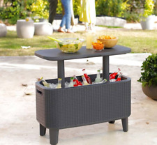 Keter Bevy Bar 60 Litre Rattan Cool Drinks Cooler Box Party Summer Garden Table