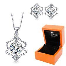 Schmuckset aus 925 Silber Sternzeichen Zwillinge Halskette Ohrstecker + LED Box