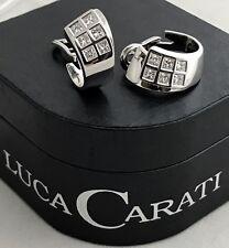 AUTHENTIC LUCA CARATI EARRINGS 18K WG 1.60 CARAT VVS DIAMONDS, ORIGIN BOX & TAGS