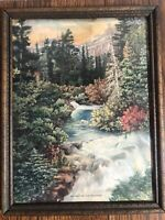 Vintage 8 x 10 Wood Framed Lithograph Print SUNSET IN THE ROCKIES