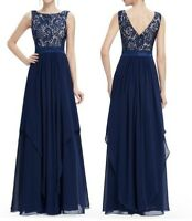 Women's Long Evening Dress Elegant Wedding Bridesmaid Cocktail Party Prom Gown