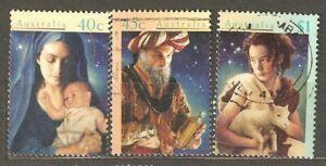 Australia: full set of 3 used stamps, Christmas, 1996, Mi#1606-8