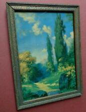 "R. Atkinson Fox Maybe, Trees, Path, Rocks, Clouds, 11""x8"" Framed Print Vintage"
