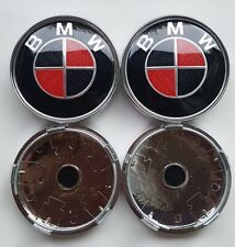 4x RED CARBON Chrome Back Fits BMW MOST SERIES 60mm ALLOY WHEEL CENTRE CAPS