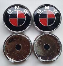 Se adapta a 4x Rojo Carbono Cromo Trasero BMW Serie 60 mm aleación más centro de rueda Caps