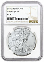 2020 (W) 1 oz Silver American Eagle Struck at West Point Mint NGC MS70 SKU60628