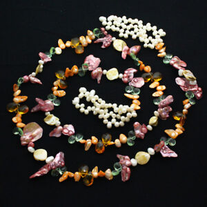 Vintage 53 Inch Long Natural Mixed Color Shell & Pearl Lariat Necklace