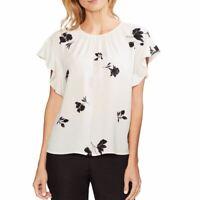 VINCE CAMUTO NEW Women's Floral-print Flutter-sleeve Blouse Shirt Top XXS TEDO