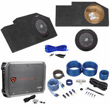 "Sub Box Enclosure+Kicker 10"" Subwoofer+Amplifier For 2002-Up Dodge Ram Quad Cab"