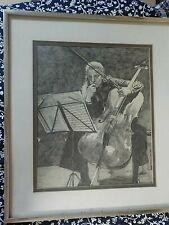 Vintage Retro Portrait Female Cellist/Cello Signed Art Drawing Etching Framed