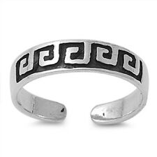 Adjustable Solid 925 Sterling Silver Greek Fret Art Design Toe Ring (4mm)