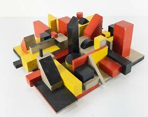 Vintage Pop Art Painted Assemblage Wood Sculpture 3D Mondrian Style Nevelson