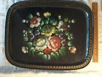 """Russian Hand painted Serving Tray Vibrant Flowers, Metal, 18""""Lx13""""Wx2""""High"""
