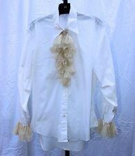 Vtg 80s Katherine Hamnett London White & Cream Dandy Blouse Cotton Silk Md Italy
