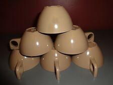 Lot of 6 Vintage Deco Retro Mid Century Melmac Melamine Brown Coffee Cups Mugs