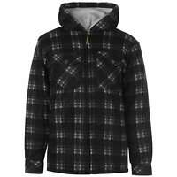Dunlop Mens Full Zip Checked Hoodie Workwear Jacket Hoody Hooded Top Coat Long