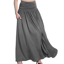 Ladies High Waist Flared Pleated Long Dress Gypsy Maxi Skirt Full Length CA