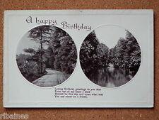 R&L Postcard: Happy Birthday, Stereo Steroscopic River View, Countryside Trees