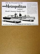 1960 Rambler Metropolitan 1500 hardtop & convertible cars vintage print Ad