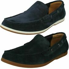 Mens Clarks Morven Sun Navy Suede Leather Slip On Shoes