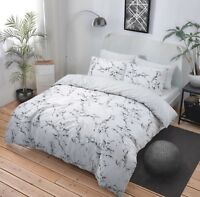 White Marble Effect Duvet Cover Set  Pillowcases Single Double King