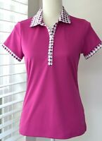 Izod Women Golf short sleeves polo shirt Top pink, Nice accents -Sz Small