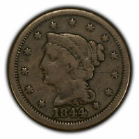 1844 1c Braided Hair Large Cent - Brothel Token - SKU-Y2676