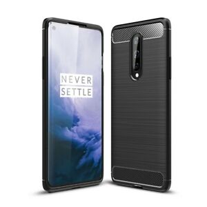 OnePlus 8 Handyhülle Silikon Case Cover Bumper Schutzhülle Tasche Carbonfarben