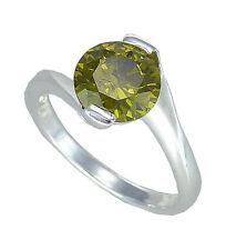 Ring mit gr olivem Zirkonia Solitär Sterlingsilber 925 gr. 58 (18,4mm)