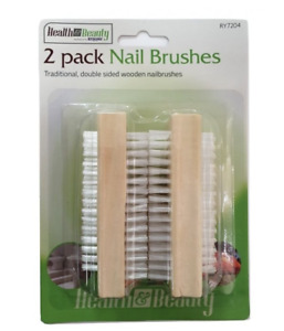 2x Nail Brushes Wooden Cleaning Scrubbing Remove Dirt Hand Finger Toe Cleaner