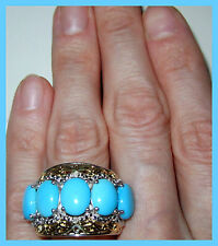 Sleeping Beauty Turquoise Diamond 6.51 cts Ring 14K YG Sterling Silver 925 sz 7