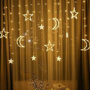 LED Lichterkette Stern Mond lichtervorhang Sternenvorhang Garten Weihnachtsdeko