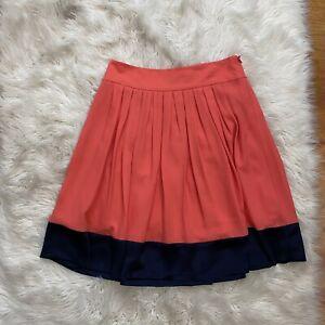 Tahari Crused Coral & Black Pleated Skirt A Line NWT Womens Size 8