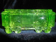 Green Vaseline glass train box car uranium yellow canary railroad RR art boxcar