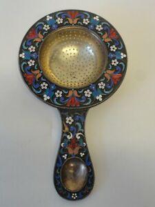Antique Russian silver 88 cloisonne enamel tea strainer by Grachev, 110 grams