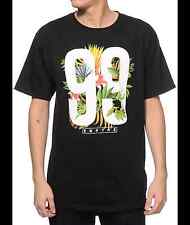 EMPYRE Tropical Varsity T-shirt Hawaiian Flower 99 Tee Adult LARGE Black New