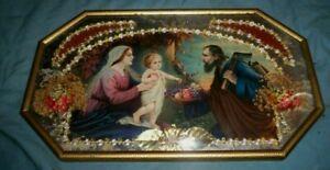 Vtg antique religious picture Holy Family Jesus Mary Joseph Bubble convex glass