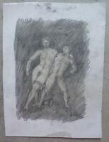 Akt Männlich Alter Zeichnung Bleistift Auf Papier Signiert Tajada Spanien '900