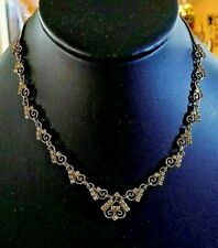 Vintage clear rhinestones and gold tone Victorian revival choker necklace