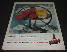 Magazine Print Ad 1957 Distillery FOUR ROSES Whiskey Time works wonders.