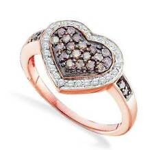 Chocolate Brown & White Diamond Ring 10K Rose Gold Heart Cluster .50ct Large